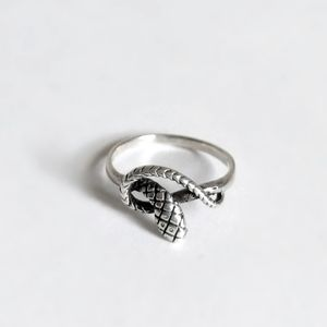 Sterling silver ring snake serpent 925 pinky midi